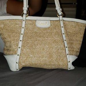 COACH Summer Straw Shoulder Bag